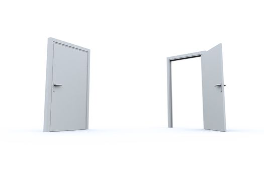 Closed and open doors