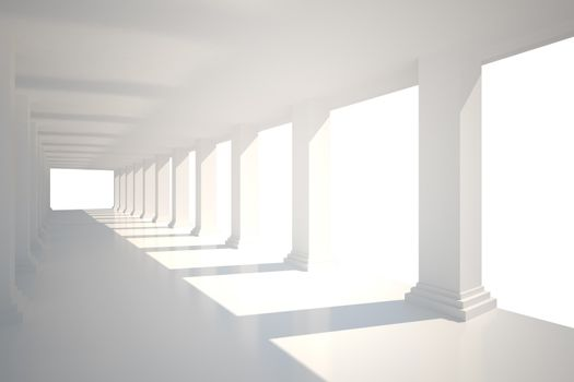Digitally generated room with columns