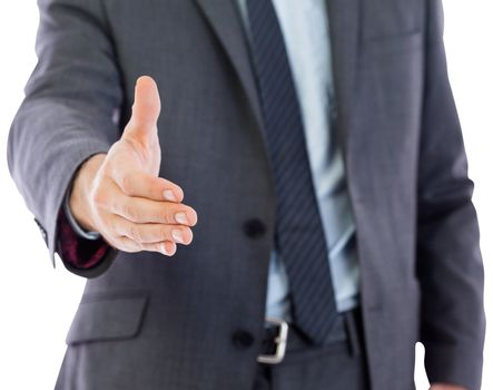 Businessman reaching hand out