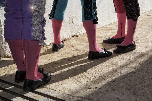Bullfighters at the paseillo or initial parade Bullfight at Baez