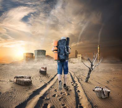 Tourist in a sandy desert