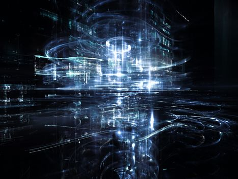 City Lights series. Abstract arrangement of technological fractal textures suitable as background for projects on science, technology, design and imagination