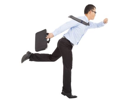 hurry businessman running and watching watch