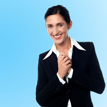 Smiling young successful businesswoman