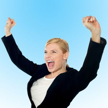 Corporate lady expressing success loudly
