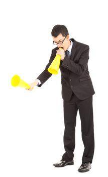 businessman blaming with megaphone