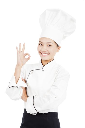 Chef baker or cook showing ok hand sign for perfection