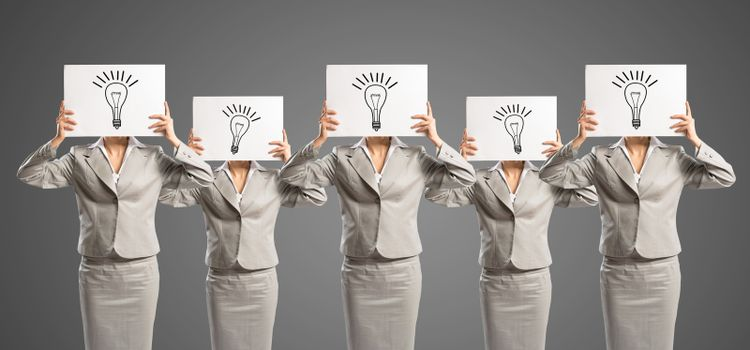 image of a businesswomen standing in a row, concept of teamwork