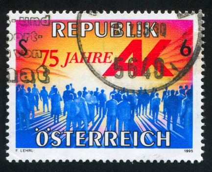 AUSTRIA - CIRCA 1995: stamp printed by Austria, shows standing people, silhouettes, circa 1995