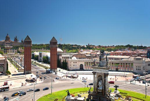 Fountain on Plaza de Espana in Barcelona Spain