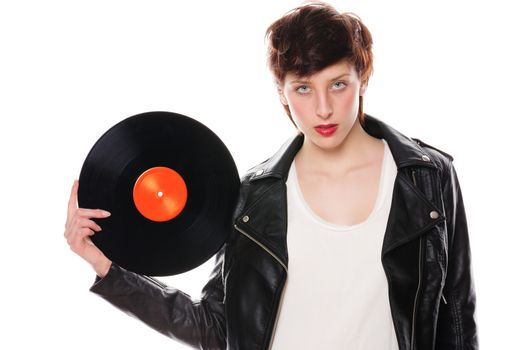 stylish woman with a vinyl record