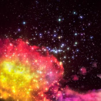 stars shine through the clouds of a old nebula