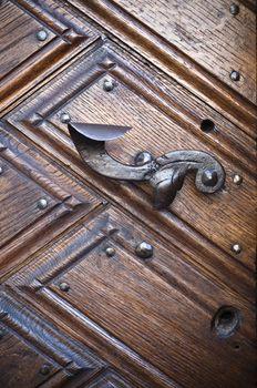 Old metal door handle, close-up