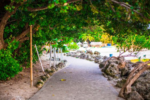 Footpath between the beaches on island of Boracay