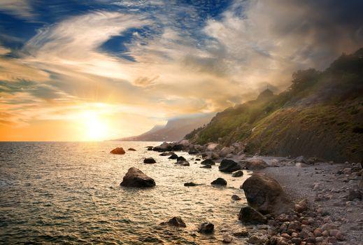 Scenic sunset at Black Sea