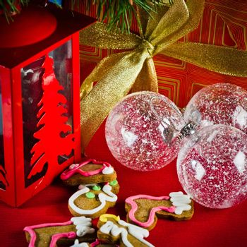 decoration and gifts of toys for Christmas