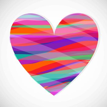 Valentine in the rainbow colors on a white background