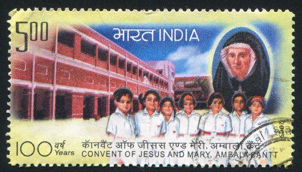 INDIA - CIRCA 2009: stamp printed by India, shows children, building, nun, circa 2009