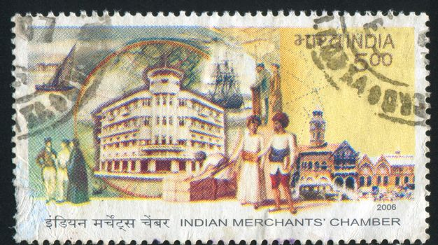 INDIA - CIRCA 2006: stamp printed by India, shows  Indian Merchants Chamber, people, circa 2006