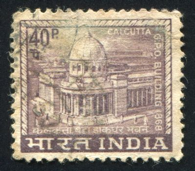 INDIA - CIRCA 1965: stamp printed by India, shows General Post Office building, circa 1965