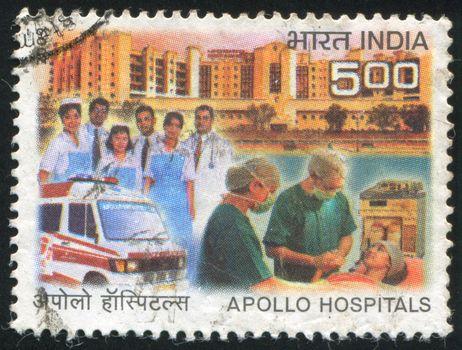 INDIA - CIRCA 2009: stamp printed by India, shows hospitals, doctors, medical car, circa 2009