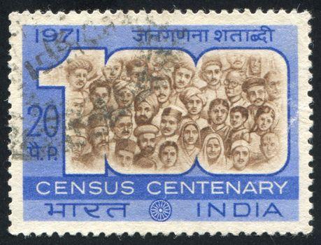 INDIA - CIRCA 1971: stamp printed by India, shows faces of men, circa 1971