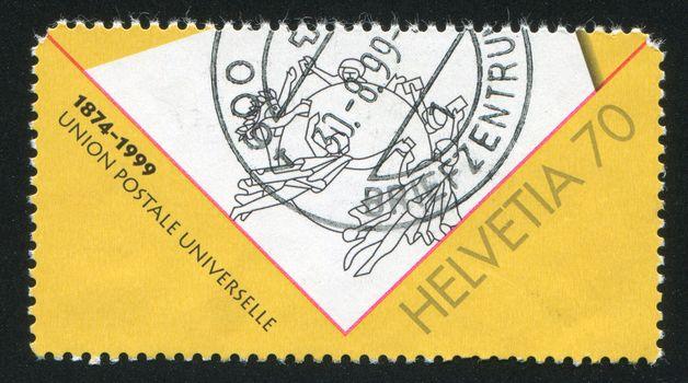 SWITZERLAND - CIRCA 1999: stamp printed by Switzerland, shows UPU emblem, circa 1999