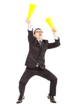 Businessman  encouraging  with cheering megaphone