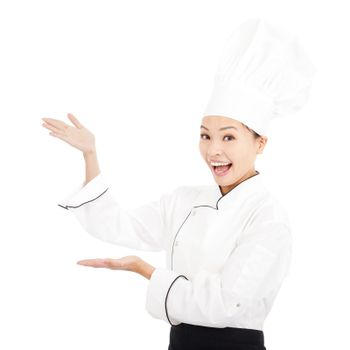 young graceful woman dressed as a cook with cap