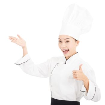 young graceful woman dressed as a cook with thumb up