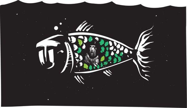 Woodcut style image of biblical Jonah inside a whale.