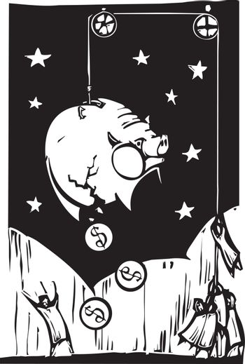 Woodcut style image of people hoisting a piggy-bank into the air in order to get the money out.