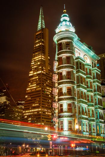 Buildings lit up at night