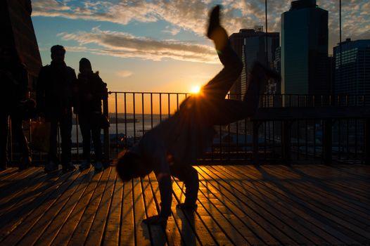 Man dancing on terrace