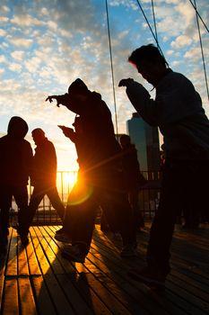 Men dancing on terrace