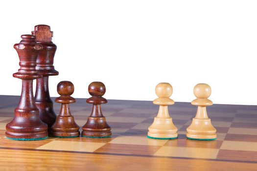 Black King, Queen and 2 pawns versus 2 white pawns