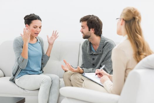 Couple in meeting with a relationship counselor
