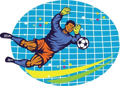 Illustration of a goalie goal keeper football player saving soccer ball with net  done in retro style.