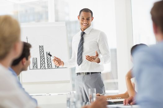 Happy young businessman presenting bar chart to co workers