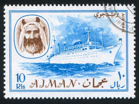 AJMAN - CIRCA 1964: stamp printed by Ajman, shows Sheik Rashid bin Humaid al Naimi and ship, circa 1964