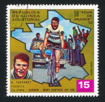 EQUATORIAL GUINEA - CIRCA 1972:  stamp printed by Equatorial Guinea, shows bicycle, circa 1972.