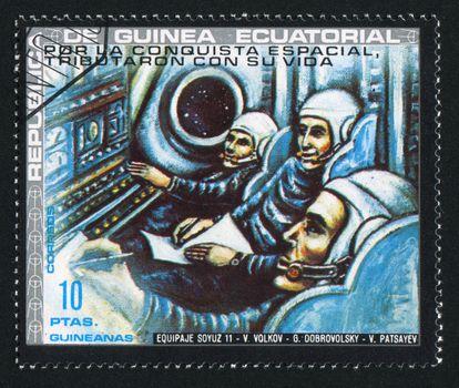 EQUATORIAL GUINEA - CIRCA 1972:  stamp printed by Equatorial Guinea, shows astronaut, circa 1972.