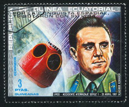 EQUATORIAL GUINEA - CIRCA 1972:  stamp printed by Equatorial Guinea, shows astronaut Vladimir Komarov, circa 1972.