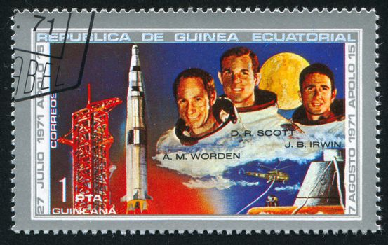 EQUATORIAL GUINEA - CIRCA 1980:  stamp printed by Equatorial Guinea, shows astronaut, circa 1980.