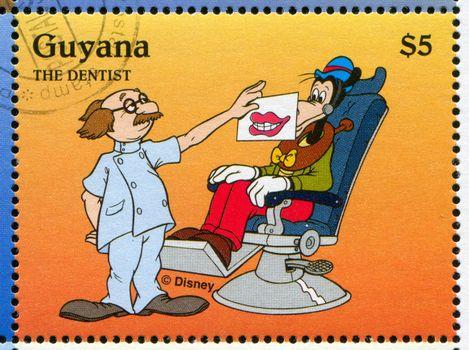GUYANA - CIRCA 1995: stamp printed by Guyana, shows Walt Disney characters, Goofy, circa 1995