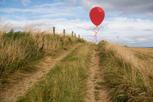 Balloon above sand dunes