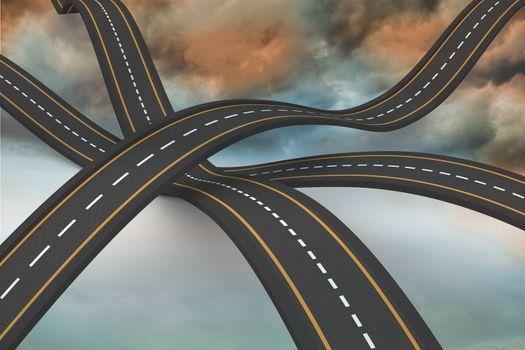 Bumpy roads crossing backdrop