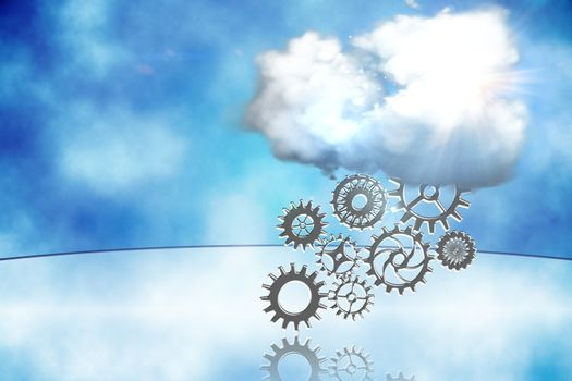 Cloud with cogs and wheels