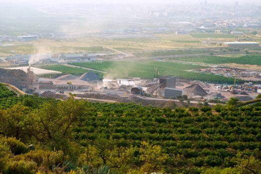 Arid crushing quarry in Castellon province