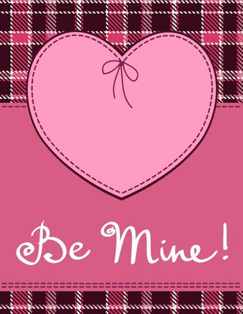 Heart in stitched textile style. Vector pink heart textile label with 'be mine' hand lettering